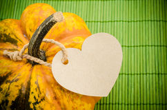 Blank brown paper shape heart tag for your text on a pumpkin. Stock Photo