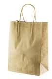 Blank brown paper Shopping Bag with Handles. Isolated on white background with clipping path Stock Photo