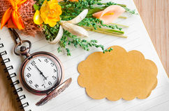 Blank brown tag and pocket watch. Stock Photo