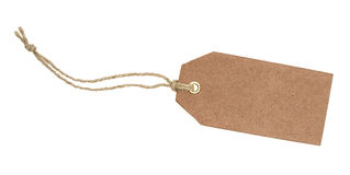 Blank brown tag. On a white background Royalty Free Stock Photo