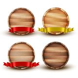 Blank Brown Wooden Barrel For Alcohol Set Vector stock illustration