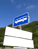 Blank Bus Signs. Bus Stop with two blank sings Stock Photo