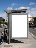 Blank bus stop billboard Stock Photos