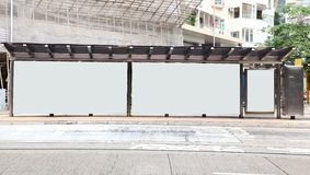 Blank bus stop billboard. Blank billboard in bus stop royalty free stock photos
