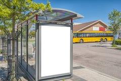 Blank Bus Stop Billboard Mockup Stock Photos