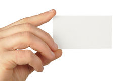 Blank Business Card. Hand holding blank business card isolated on white Stock Images