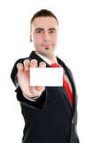 Blank business card. Businessman holding businesscard with room for your message Royalty Free Stock Photos