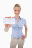 Blank business card being held by woman Royalty Free Stock Image