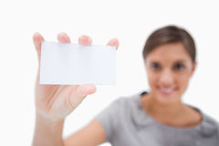 Blank business card being presented Stock Photos