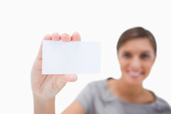 Blank business card being presented by woman Stock Photo