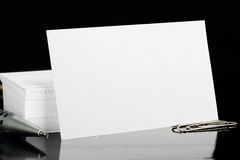 Blank business card. On black folder, business background Royalty Free Stock Photos