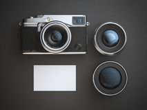 Blank business card with camera and two lenses. 3d rendering Royalty Free Stock Images
