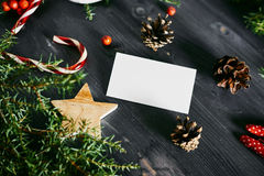 Blank business card on a Christmas wooden Royalty Free Stock Images