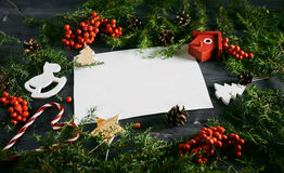Blank business card on a Christmas wooden background Royalty Free Stock Photos