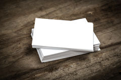 Blank business card. Close up pile of blank business card on wooden background Royalty Free Stock Photo