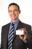 Blank business card in a hand Stock Photography