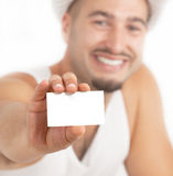 Blank business card in a hand Royalty Free Stock Photos