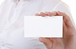 Blank Business card in hand Royalty Free Stock Photos
