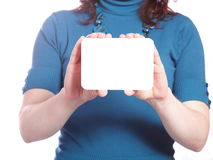 Blank of business card in hand Stock Images