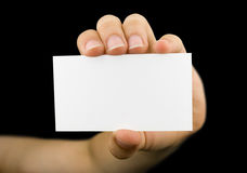Blank business card in a hand Stock Photo