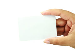 Blank business card on hand. Blank business card on white background Stock Photography