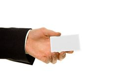 Blank business card in hand Stock Images
