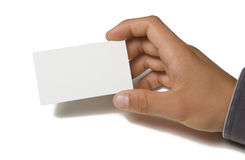 Blank Business Card in Hand. On white background Stock Image
