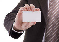 Blank business card in hand Stock Image