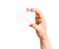 Blank business card in hand Stock Photography