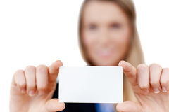 Blank business card in a hand Stock Photos