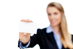 Blank business card in a hand Stock Images
