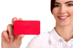 Blank business card in a hand - Stock Image Royalty Free Stock Photo