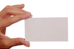 Blank business card in a women hand Stock Images