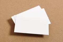 Blank Business Card. On kraft paper Stock Photo