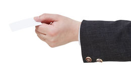 Blank business card in male hand Stock Photos