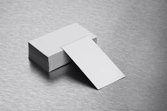 Blank Business Card Mockup on Brushed Steel Background Stock Photo