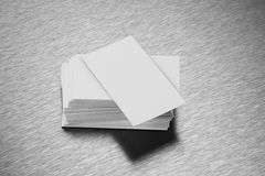 Blank Business Card Mockup on Brushed Steel Background Royalty Free Stock Photo