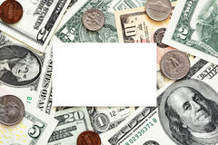 Blank business card on money background Royalty Free Stock Photo