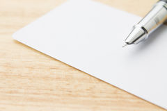 Blank business card and pen Royalty Free Stock Photography
