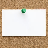 Blank Business Card Pinned to Cork Board Royalty Free Stock Photography