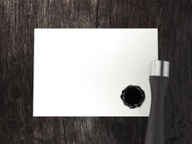 Blank business card with seal wax and stamp. 3d rendering Stock Photography