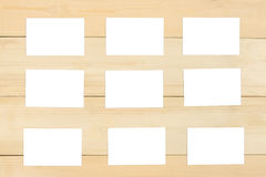 Blank business card. Set of blank business card top view on wooden background Royalty Free Stock Photo