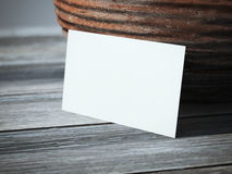 Blank business card on the table stock photography