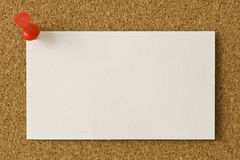 Blank Business Card Thumb Tacked To Corkboard Royalty Free Stock Image