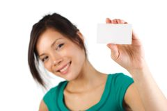 Blank business card woman Royalty Free Stock Photo