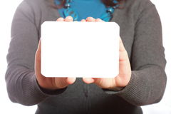 Blank of business card in woman hand Royalty Free Stock Images