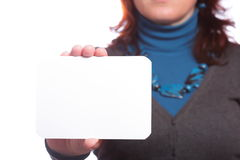 Blank of business card in woman hand Stock Images