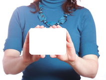 Blank of business card in woman hand Royalty Free Stock Photo