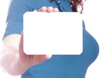 Blank of business card in woman hand Royalty Free Stock Image