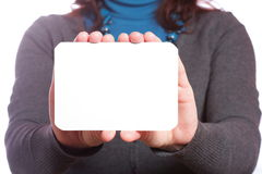 Blank of business card in woman hand Stock Photography